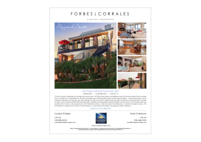 Forbes-Corrales Ad for Southbay Magazine