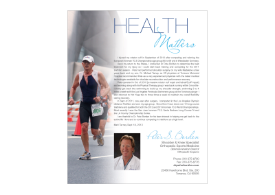 Ad for Peter Borden, MD Southbay Health Magazine