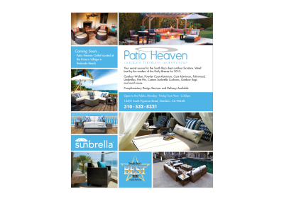 Patio Heaven Ad for Southbay Magazine