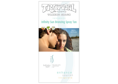 Clear Vinyl Window Cling for Tropical Sun Tanning Salon