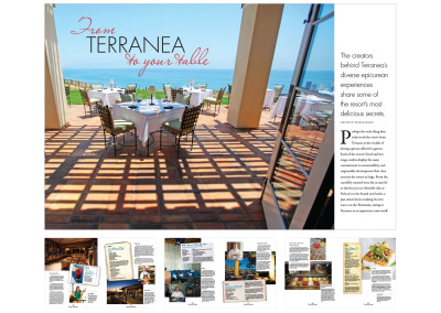 Eight-page spread article for Terranea's guest magazine