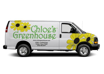 Vehicle Wrap Photoshop mockup for Chloe's Greenhouse Delivery Van