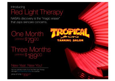 Red Light Therapy Flyer for Tropical Sun Tanning Salon